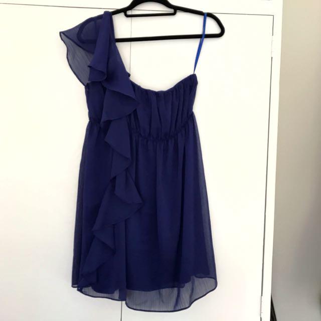 Blue One Shoulder Dress S12