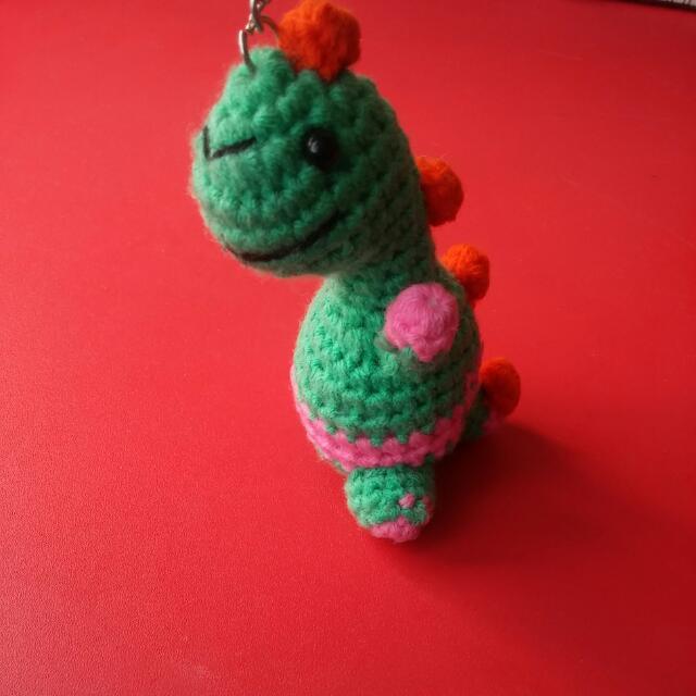 crochet dinosaur keychain