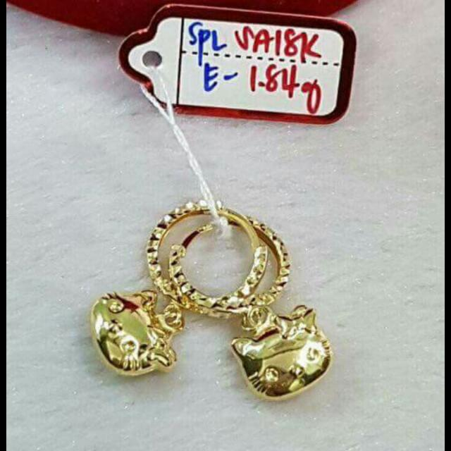 Dangling Earrings Hello Kitty Deaign 18k Saudi Gold Women S Fashion