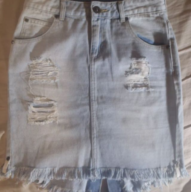 Distressed Light Wash Denim Skirt