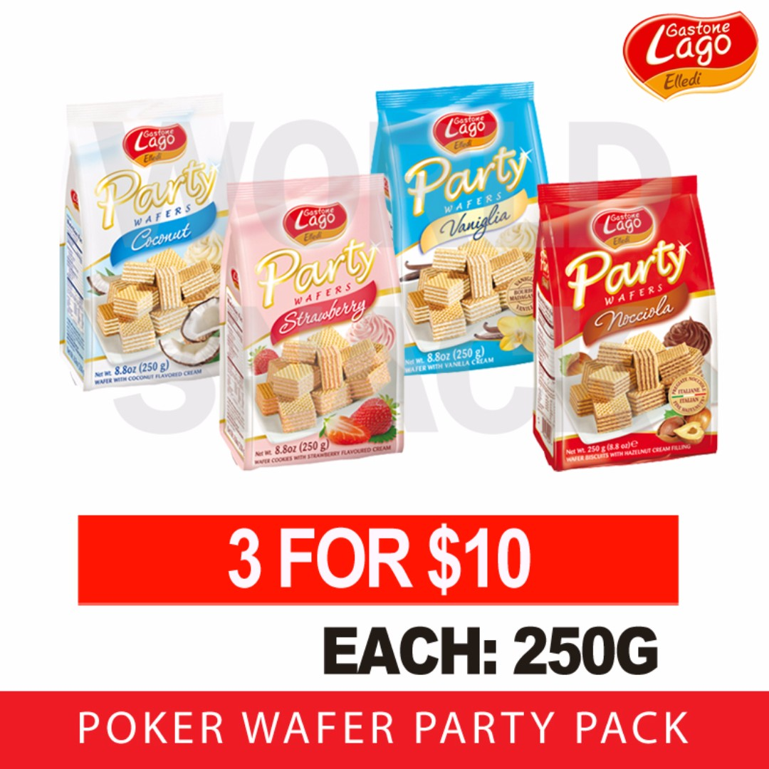 Elledi Poker Wafer Party Pack Each 250g Any 3 For 10 Offer Food Yupi Neon Worms Bag 120gr Drinks Packaged Snacks On Carousell