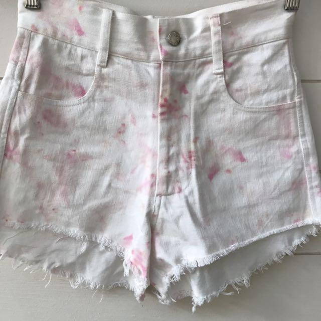 Elleque white pink tie dye denim shorts