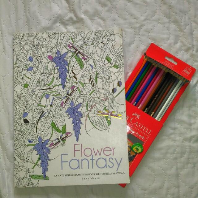 Flower Fantasy - Anti Stress Big Colouring Book By Sara Mizuo