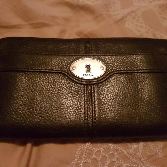 Fossil Black Leather Wallet New