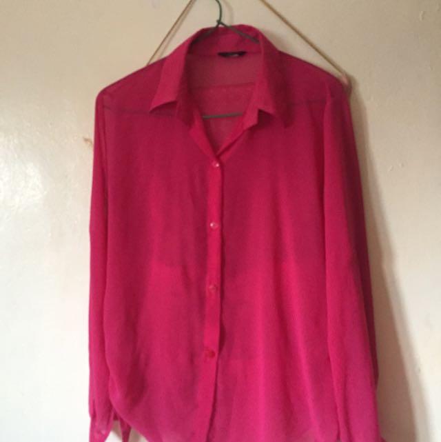 FREE ONGKIR Magenta shirt longsleeve