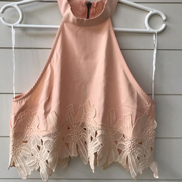 hello molly peach orange lace crop