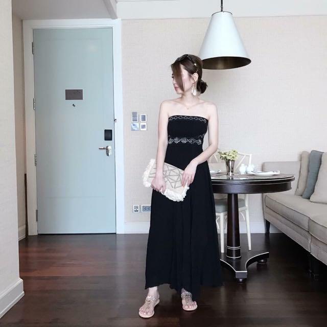 日本品牌Lagunamoon黑色平口珠珠長洋裝s