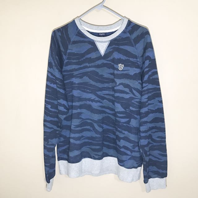 Men's LRG Blue Camo Crew Neck Sweatshirt
