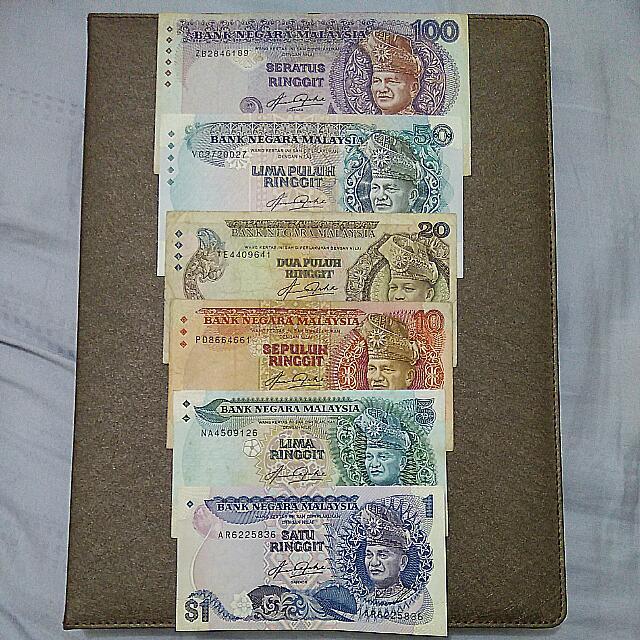 Malaysia 5th Banknotes Set ($100-$1)