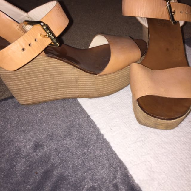 Michael Kors Wedges Heels In Brown Size 8