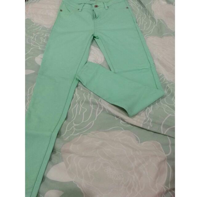 Mirrou Mint Green Full Length Skinny Pants