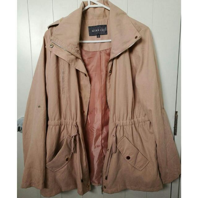 Mirrou Nude Pink Anorak Jacket With Drawstring Waist