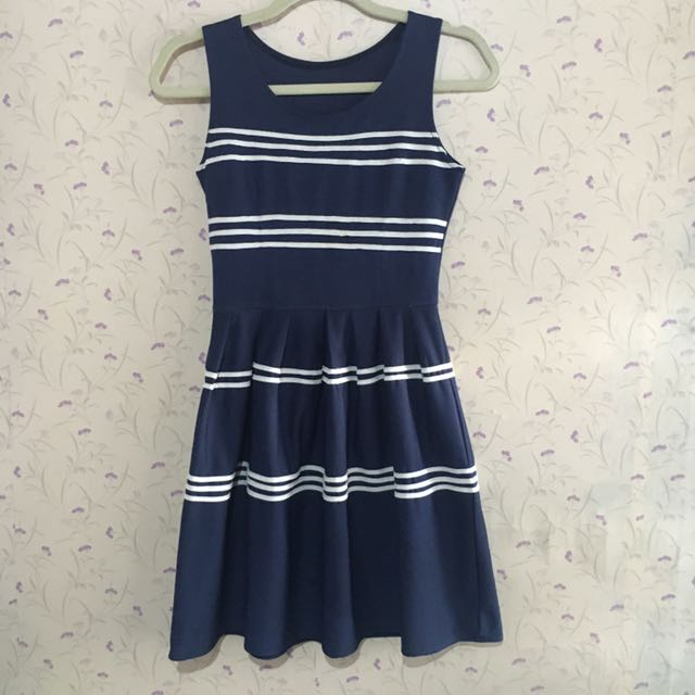 Navy Blue With White Stripes Dress