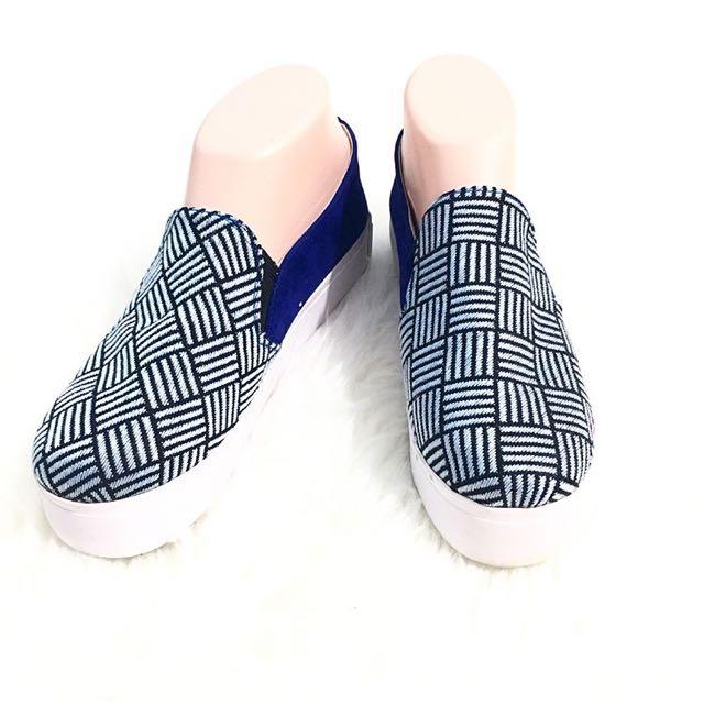 Nee Tartan Blue Loafers Size 38