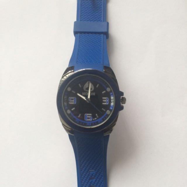 Nixon Stainless Street Blue Rubber Men's Watch