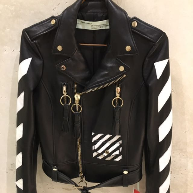 15ffc684b Off White Leather Jacket, Men's Fashion, Clothes on Carousell