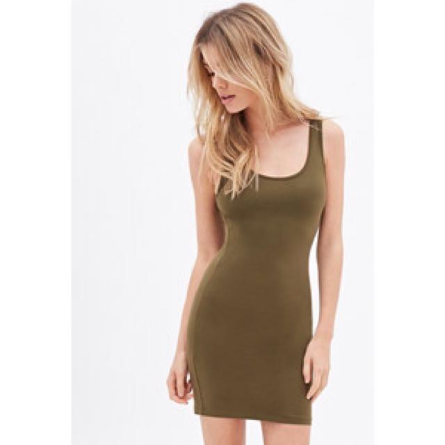 Olive Green Tank Dress