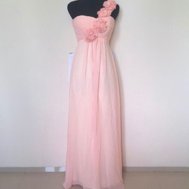 PINK SWEET LONG PROM DRESS