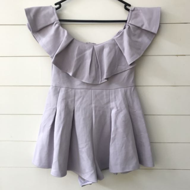 Princess Polly lilac purple off the shoulder playsuit