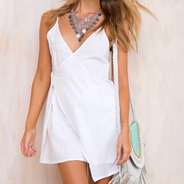Princess Polly White Linen Wrap Dress
