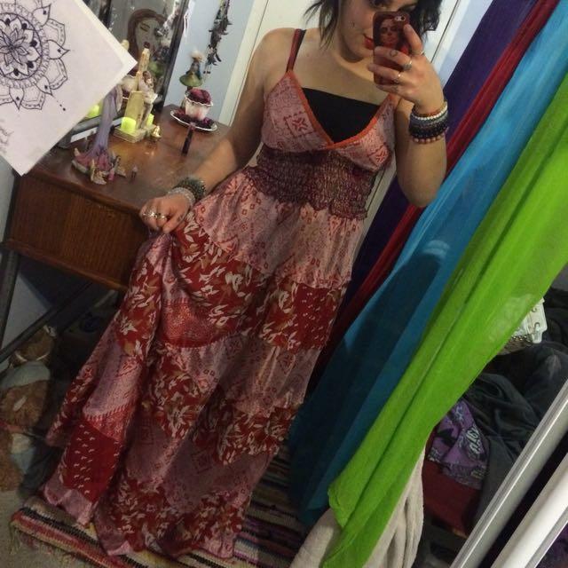 Red Fire Hippie Dress