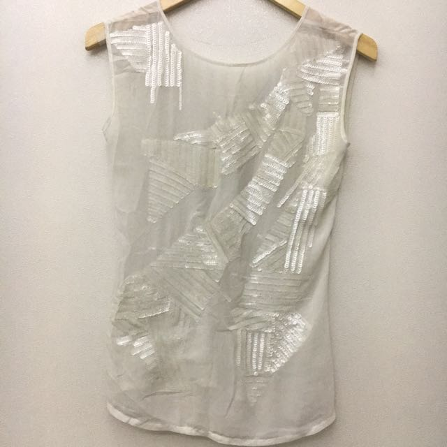 DISKON 50% See Through Sequin White Top