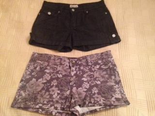 Short Shorts- blue black and grey black floral