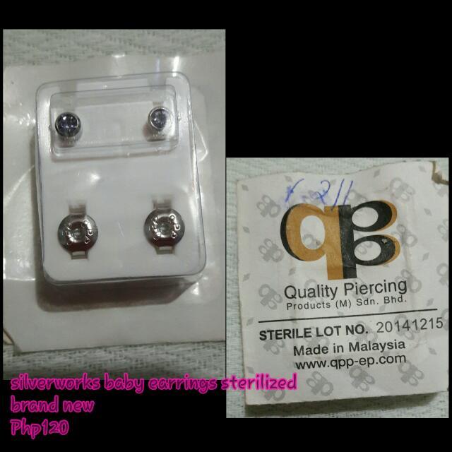 silver baby earrings