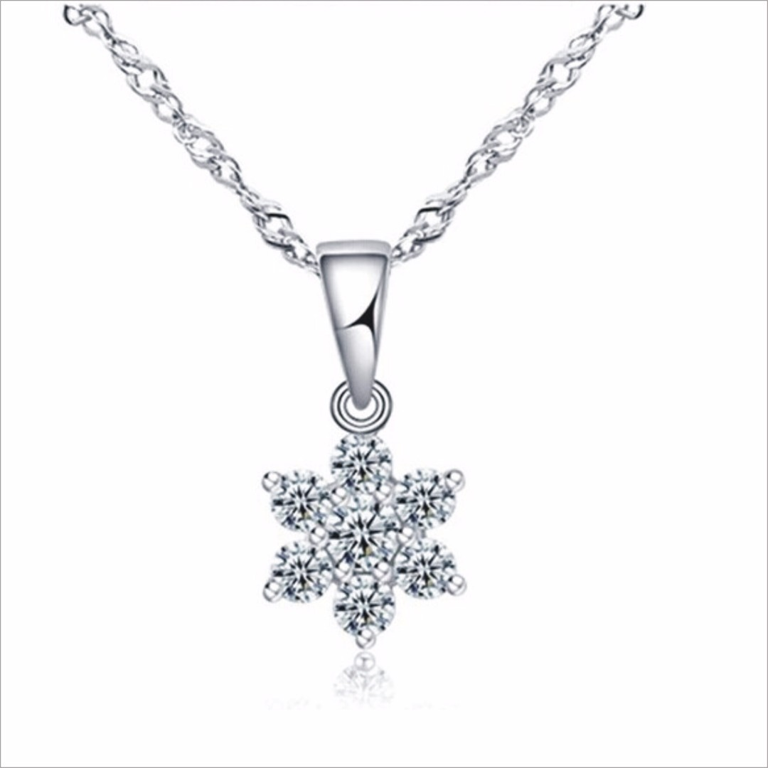 Small SNOW 925silver Necklace/ Free Chain