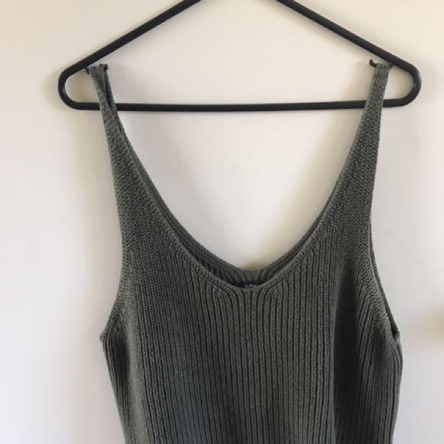 Sports Girl Khaki Knit Top