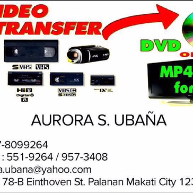 Video Transfer Betamax VHS Video 8 MiniDV To MP4