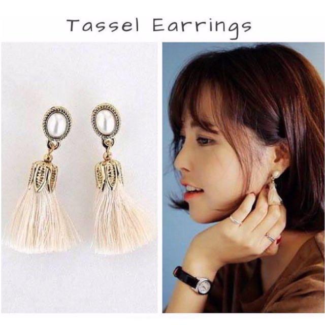 White Combination Tassel Earring