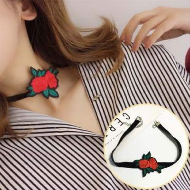 Wind Embroidery Rose Flower Necklace Chain Rose