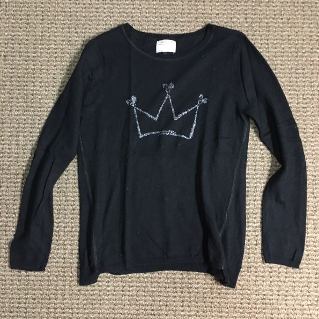 ZARA: Black Knitted Sweater With Silver Tiara And Beads Behind