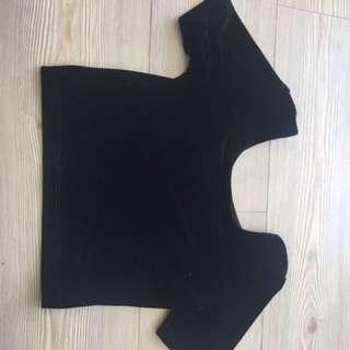 Black American Apparel Cropped T- Shirt