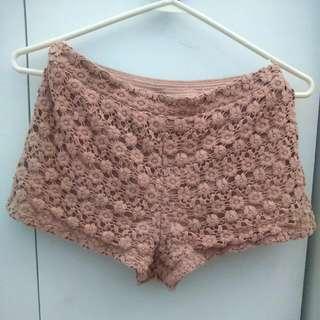 Forever 21 Rose Floral Crochet Shorts