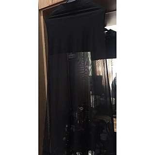 H&M Mesh Black Long Skirt
