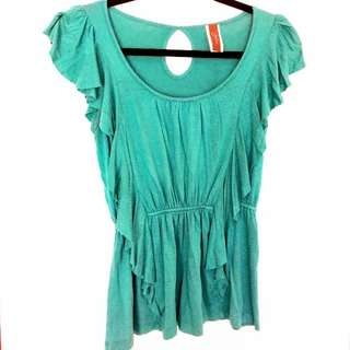 Turquoise Shirt With Draped Ruffles