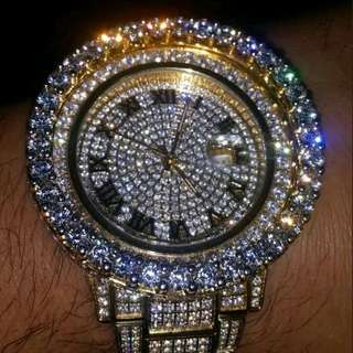 24k Yellow Gold Fully Iced Out Maison Watch