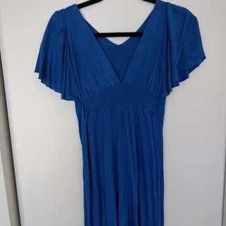 Blue V-Neck Tie Dress