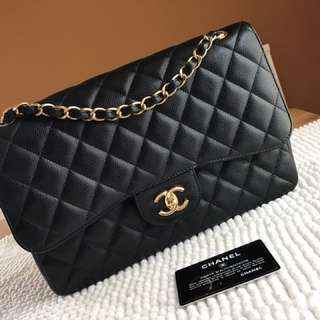 🔥Most Wanted🔥Chanel Jumbo Black Caviar GHW #21 in Excellent Condition