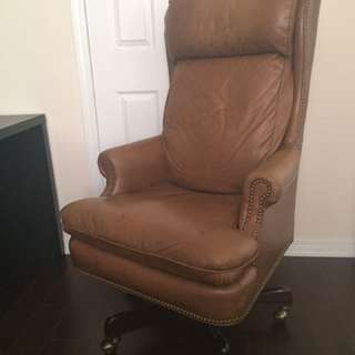 Real Leather Chair On Wheels