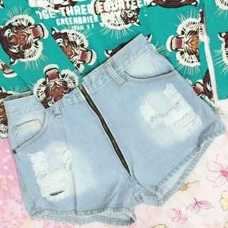 Hotpants Jeans High Zipper