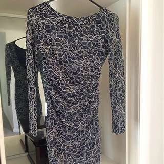 Lipsy Navy Lace Bodycon Dress