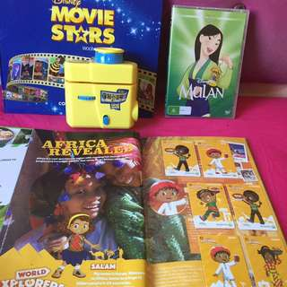 Movie Mulan Disney DVD & Woolworths Books W/ Projector