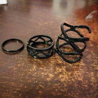 3 Rings Set Black