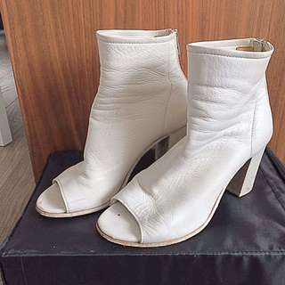 PEEP TOE WHITE ANKLE BOOTS