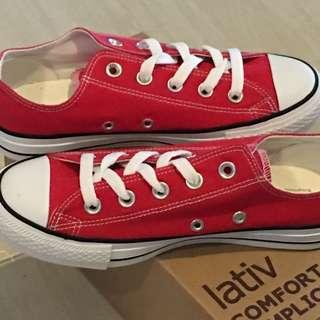 [免運費]全新Lativ純棉經典帆布休閒鞋(紅)6號 #500元好女鞋