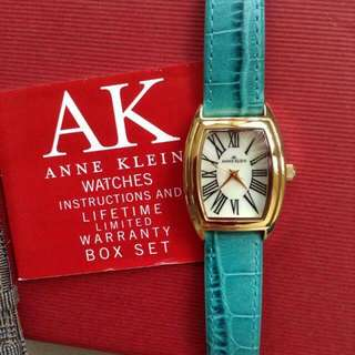 Reprice Ann Klein  Ladies Watch Leather Strap Water Resist Free Strap Easy Clip