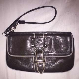 Lacoste Brown Pebble Leather 2 Pocket Wristlet Wallet